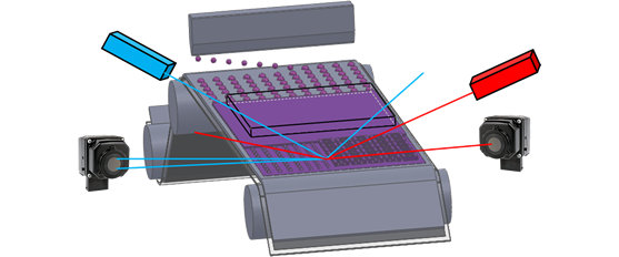 Graphic representing inspection of patterned media